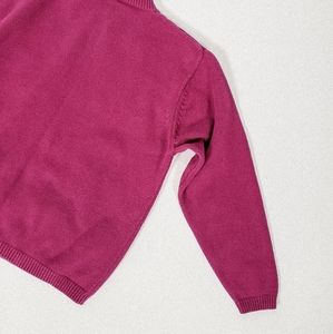 Vintage Sweaters - Pink embroidered crew neck sweater vintage